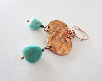 Bohemian earrings.Turquoise earrings. Long copper earrings. Turquoise jewelry. Teal earrings. Blue green earrings. Stone earrings.