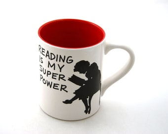 Reading is my Superpower mug RED Great teacher gift, gift for graduate, large 16 oz mug, kiln fired