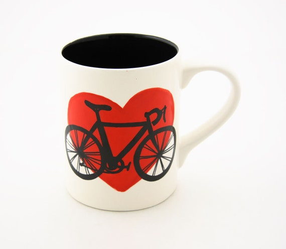 Bike Mug Bicycle in Red Heart can be personalized