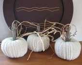 White Pumpkins Fall Decorations Autumn Decor Crocheted Pumpkins Rustic Country Decor Farmhouse Decor Wool Handmade Set of Three