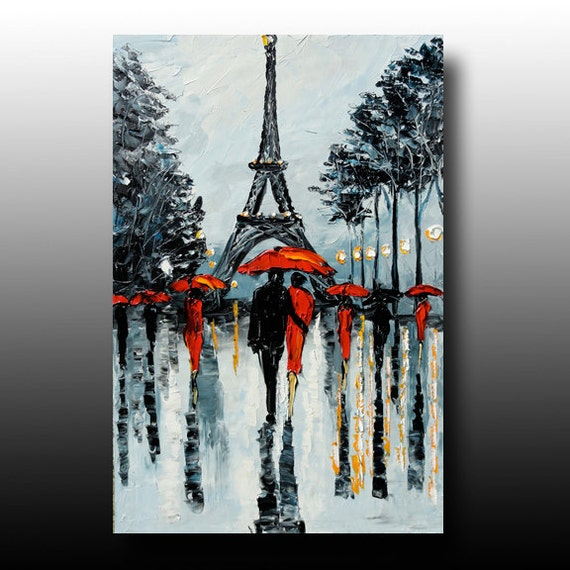 PARIS Painting  Palette Knife Painting Abstract Art GOLDIE Original Oil Rainy Paris  Painting