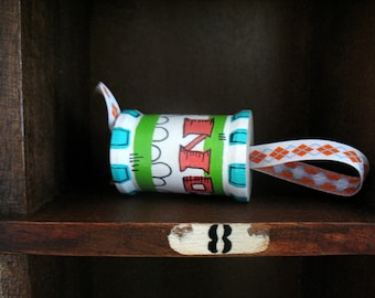 handmade wooden folk art spool ornament ... No. 27