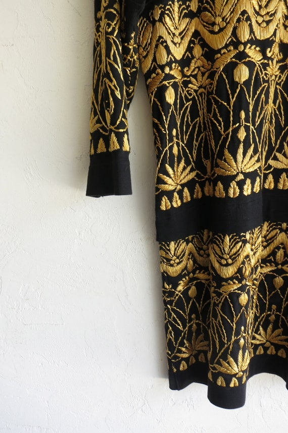 """Black and Gold """"Gene Ewing"""" Embroidered Dress"""