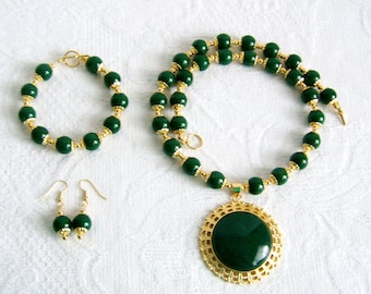 Emerald Green Jade Cabochon Necklace, Bracelet, and Earrings