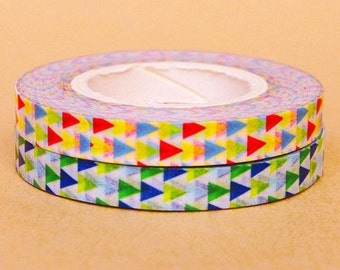 Funtape Masking Tape - Colourful & Green Triangles - Slim