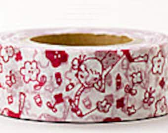 Delfonics Washi Masking Tape - Ruby Red Flowers  - Wide - Snih