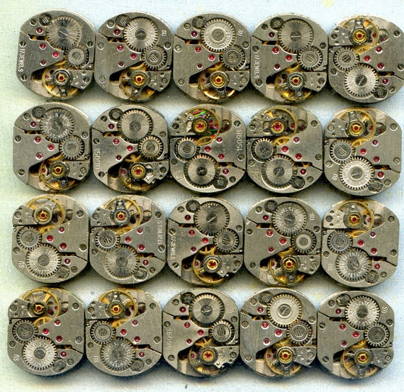 60 similar vintage  watch movements...  to use in your assemblage  Steampunk or GEEK JEWELRY 60-8