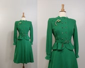 1940s Wool Suit / Military / Bust 36 / Emerald Green