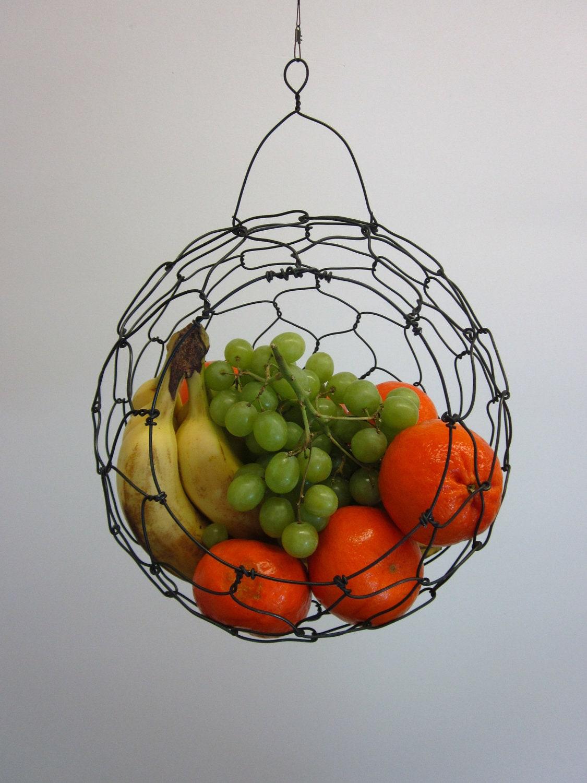 Handmade Hanging Fruit Basket : Wire basket handmade hanging fruit sphere