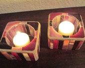 Burgandy, Dark Pink & Purple Small Glass Mosaic Candle Holders