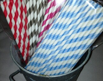 Sale- PINK Only 25 Stripe Paper Straws, Mason Jars Straws, Party Straws, Birthday Straws