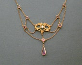 Antique Art Nouveau Necklace . Festoon . Freshwater Pearl and Amethyst .