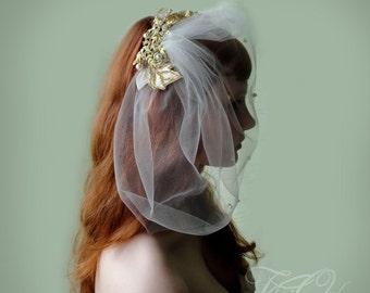 Birdcage veil, tulle blusher veil, hair vine, bridal vine clip, gold fascinator, bridal headdress, gold birdcage veil, gold veil,
