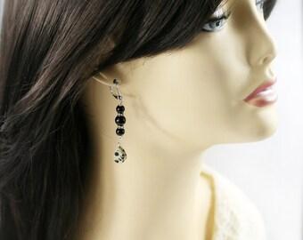 Ebony bling earrings - jade and jasper