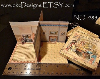 Miniature McLoughlin Folding Doll House - Miniature Lithographed Toy -  C. 1894 Design 985