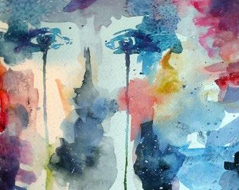 Starry-Eyed Original Watercolor