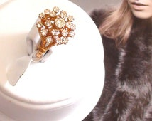 Cluster Ring Cocktail And Sparkle 18kt Heavy gold electroplated vermeil size 6