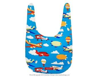 SALE - Modern Baby Bib in Leaving on a Jet Plane Print -- Ready to Ship
