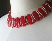 Red Necklace Lucite Aluminum Germany 1940's