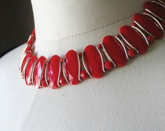 Red Choker Necklace Lucite Aluminum Germany 1940's Lipstick Red