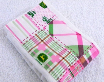 Burp Cloth Girl - Green Pink John Deere Burp Cloth