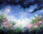 Angel Moon Garden, Angel Art, Landscape, Floral, Spiritual Inspirational Art From The Original Painting by Marina Petro