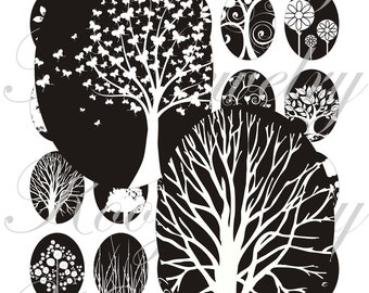 Back and white tree 40x30mm oval images for charms, pendant, buttons, scrapbook and more Vintage Digital Collage Sheet No.970