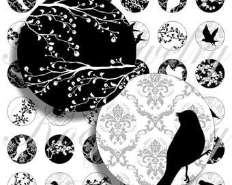 Romantic birds for bottle caps, pendant, buttons, scrapbook and more Vintage Digital Collage Sheet No.1251