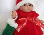 Knit Pattern for 5 inch Berenguer Itty Bitty Baby Dolls Christmas Eve Dress Set with stocking