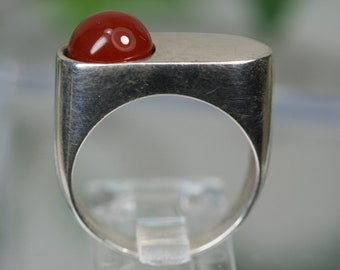 Vintage Sterling and Glass Stone Ring