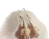 White Turtle Dangle Earrings