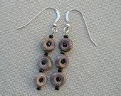 Black Seed Beads in Brown Donut Earrings
