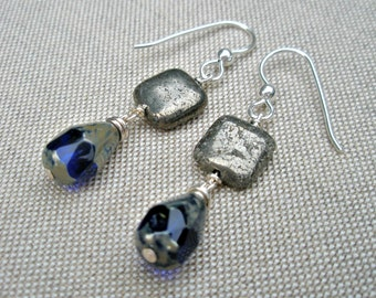 Royal Blue and Gray Earrings