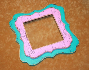 5x5 picture frame, whimsical frame, colored photo frame, twin stacked frame, distressed frame, shabby frame, 67 colors