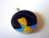 Art pendant custom jewelry Kleopátra girl art reproductions jewelry Wearable Art