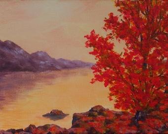 Autumn Colors Tree Rocks Mountains  Inspiration Hope Lake Reflections 9x12 Original Acrylic painting