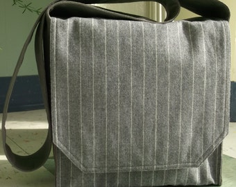 Light Grey Pinstripe Messenger Bag