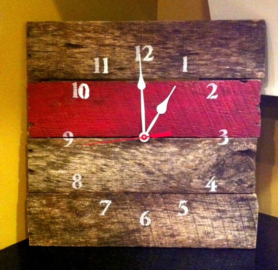 Reclaimed Aged Pallet Wood Wall Clock Red Hand Painted