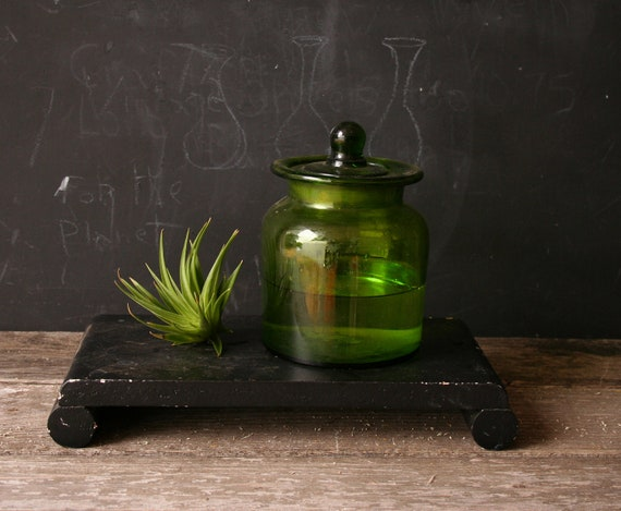 Vintage Apothecary Green Glass Jar From Nowvintage on Etsy
