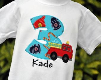Firetruck Birthday Shirt - Firefighter Birthday Shirt - Fireman Birthday Shirt - Personalized Firetruck Shirt - Boys Shirt -Fire Engine