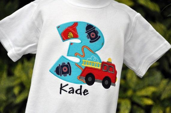 Personalized Firetruck Birthday Shirt