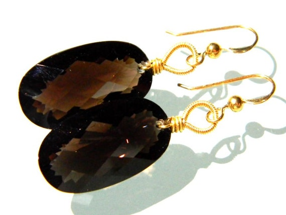 Diana earrings-- AAA Smoky Quartz 14k gold filled faceted statement wire wrapped coiled drop dangle chandelier earrings