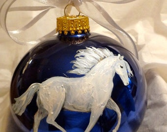 Lipizzaner White Horse Hand Painted Christmas Ornament - Can Be Personalized with Name