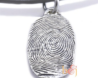 Sterling Silver Custom Thumbprint necklace  or Fingerprint necklace