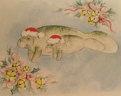 Manatees Christmas Greeting Card - Merry Christmas