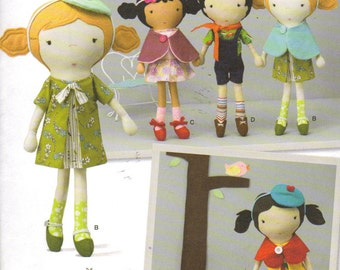 Dolls and Clothes Pattern, 5 Sweet Doll sewn from Muslin and Felt