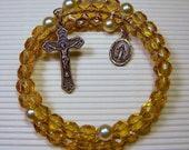 Topaz Beaded Rosary Wrap Bracelet February Birthstone Catholic Jewelry Confirmation First Communion Gift Spiritual Jewelry Prayer Beads