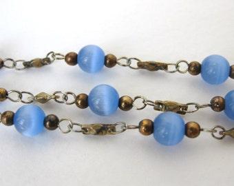 Vintage Bead Chain Light Sapphire Glass Brass Links Cats Eye Fiber Optic Blue chn0100 (3 feet)
