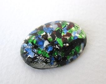 Vintage Glass Cabochon Black Blue Green Fire Opal Harlequin 25x18mm gcb0704 (1)