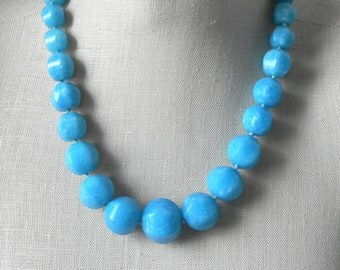 Cyan  Blue Chunky Beaded necklace Faceted Bright Blue bridesmaid True Blue ight Blue Sky Blue Statement
